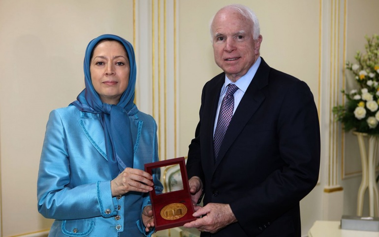"""McCain Praised the Leadership of Rajavi, Stressing: """"…Iran Will Be Free and We Will Gather in Freedom Square in Tehran."""""""