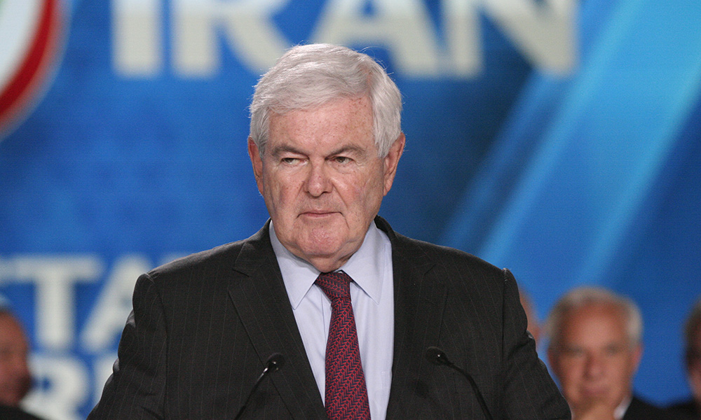 Annual gathering of Free Iran-Alternative at the Villepinte exhibition North of Paris, France, June 30, 2018. Newt Gingrich