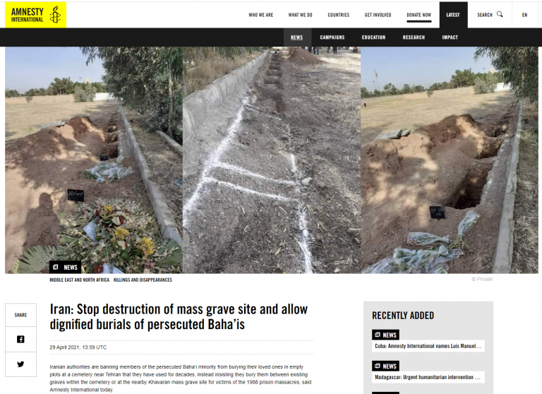 Iran: Stop destruction of mass grave site and allow dignified burials of persecuted Baha'is