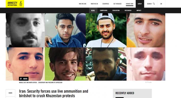 Amnesty- Iran: Security forces use live ammunition and birdshot to crush Khuzestan protests